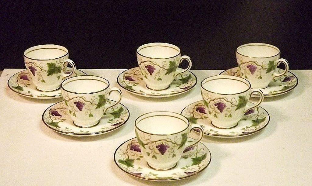 Wedgwood English Bone China Demitasse Cups Saucers Set