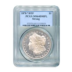 1878 $1 Morgan Silver Dollar 7/8 Tail Feather Strong PCGS MS64