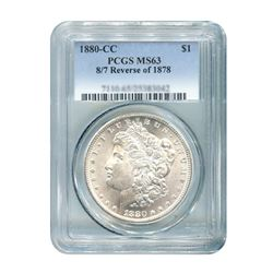 1880-CC 8/7 Rev 78 $1 Morgan Silver Dollar PCGS MS63