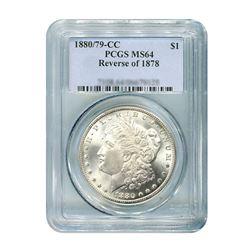 1880 / 79 - CC Reverse of 1878 $1 Morgan Silver Dollar - PCGS MS64