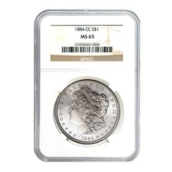 1884-CC $1 Morgan Silver Dollar NGC MS65
