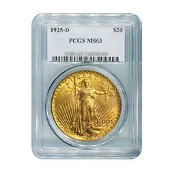 1925-D $20 Saint Gaudens PCGS MS63