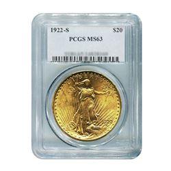 1922-S $20 Saint Gaudens PCGS MS63
