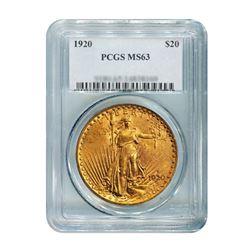 1920 $20 Saint Gaudens PCGS MS63