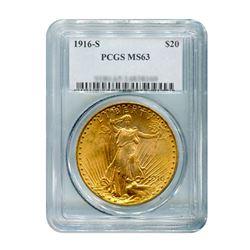 1916-S $20 Saint Gaudens PCGS MS63
