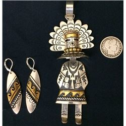 Tommy Singer Sterling Pendant and Earrings
