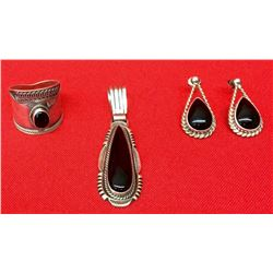 Sterling and Black Onyx Jewelry Group