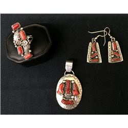 Coral and Sterling Navajo Jewelry Lot