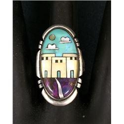 Sterling Inlay Ring Zuni or Navajo
