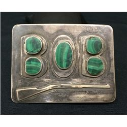 Sterling and Malachite Vintage Belt Buckle