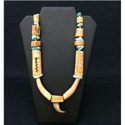 Circa 1960 Antler and Turquoise Necklace by Lone Eagle