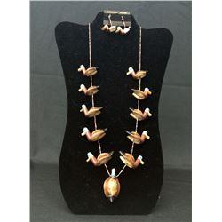 Vintage Native American Duck Fetish Necklace Set