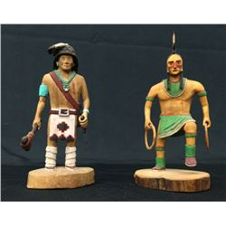 Pair of Hand-carved Signed Kachina Dolls