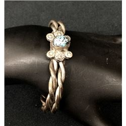Heavy Twisted Wire Cuff with Nice Turquoise