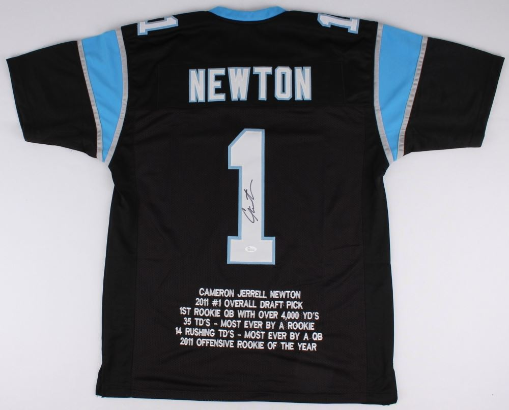 timeless design 16151 ad7ea Cam Newton Signed Panthers Career Highlight Stat Jersey ...