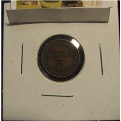 16. 5 Boordgeld, Amsterdam, Netherlands Brass Token. 16mm.