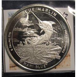 """43. 2015 """"Guy Harvey Blue Marlin Mahi Blue"""" One Ounce .999 Fine Silver."""