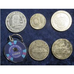 """104. """"Emerald Queen $1000 Casino"""" Gambling Chip Key Ring; 1996 Tunica, Mississippi Adventure Slots H"""