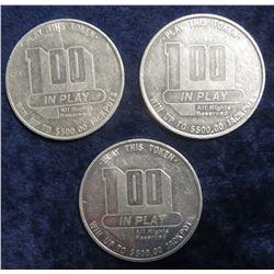 """112. (3) """"Westward Ho Casino"""" Las Vegas, Nevada One Dollar Gambling Tokens. (3 pcs.)."""
