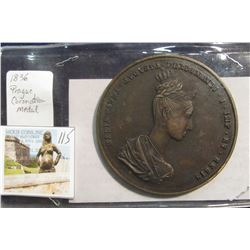 "115. Very Large 1836 Prague Coronation Medal. ""Maria Anna Augusta Ferdinandi I. Queen and King of Bo"