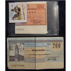 """116. 100 & 200 Lire Bank Notes from Italy. """"La Banca Poploare Di Bergamo"""" & Istituto Bancario San Pa"""