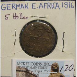 120. 1916 German East Africa Copper 5 Heller.