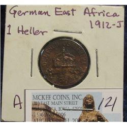 121. 1912 J German East Africa Copper 1 Heller. Red/Brown Unc.