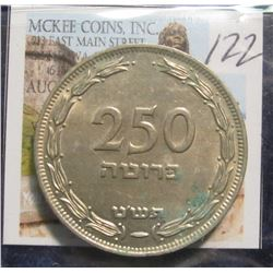 122. 1949 Israel 250 Prutot. W/O Pearl. EF 40.