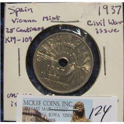 124. 1937 Spain Vienna Mint 25 Centimos. Civil War issue. One Year Issue. AU. KM # 109.