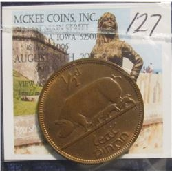 127. 1928 Ireland Half Penny. Red-Brown Unc.
