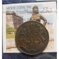 130. 1835 British East India Company. 1/4 Anna. EF 40.