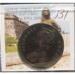 131. 1875 Bombay Mint British India 1/4 Anna. Queen Victoria. KM # 467. VF+.