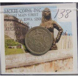 138. 1920 Netherlands East Indies 1/10 Gulden. Y-14. VF.