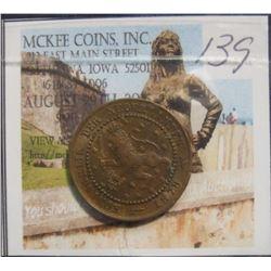 139. 1878 Netherlands One Cent. VF-EF.