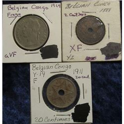 146. Belgium Congo Three-Piece Type Set: 1888 Two Centimes EF, 1911 20 Centimes F-12, & 1924 Franc V