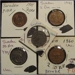 147. Sweden Coin Group: 1901 AU, 1941 EF, 1942 VF, & 1960 AU 2 Ores; & 1973 50 Ore BU.