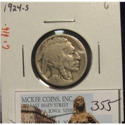 355. 1924 S Buffalo Nickel. G-4. Redbook value $16.00.