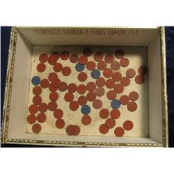 "508. Antique ""Havana Cigars"" Box with Blue & Red Point OPA tokens."