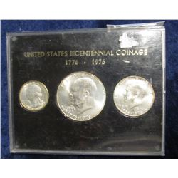 512. 1776-1976 S Three-Piece Silver Brilliant Uncirculated Bicentennial Set in a black holder with g