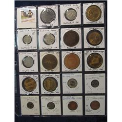 521. (19) Various carded Town Centennials, Medals, and Tokens in a Plastic Page. All catalogued and