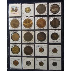 522. (19) Various carded Town Centennials, Medals, and Tokens in a Plastic Page. All catalogued and