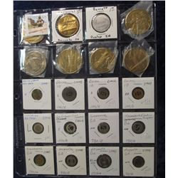 525. (20) Various carded Medals and Transportation Tokens in a Plastic Page. All catalogued and read