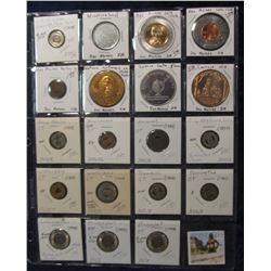 527. (19) Encased Dollars, Encased Cents, Medals, and Transportation Tokens. All carded and in a Pla