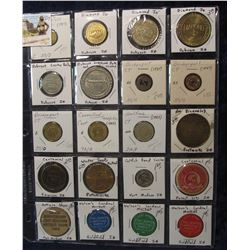 529. (20) Various carded Medals and Transportation Tokens in a Plastic Page. All catalogued and read