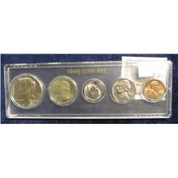 530. 1966 BU Five-Piece Year Set of Coins. Includes Silver Half Dollar.