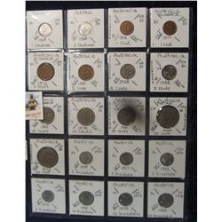 601. (20) World Coins in a Plastic Page, all identified with KM no. value, mintage, medal, & etc. In