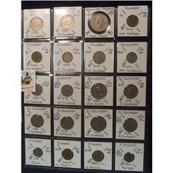 608. (20) World Coins in a Plastic Page, all identified with KM no. value, mintage, medal, & etc. In