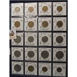 615. (20) World Coins in a Plastic Page, all identified with KM no. value, mintage, medal, & etc. In