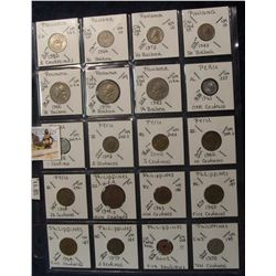 625. (20) World Coins in a Plastic Page, all identified with KM no. value, mintage, medal, & etc. In