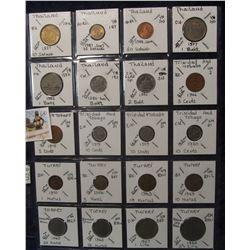 630. (20) World Coins in a Plastic Page, all identified with KM no. value, mintage, medal, & etc. In